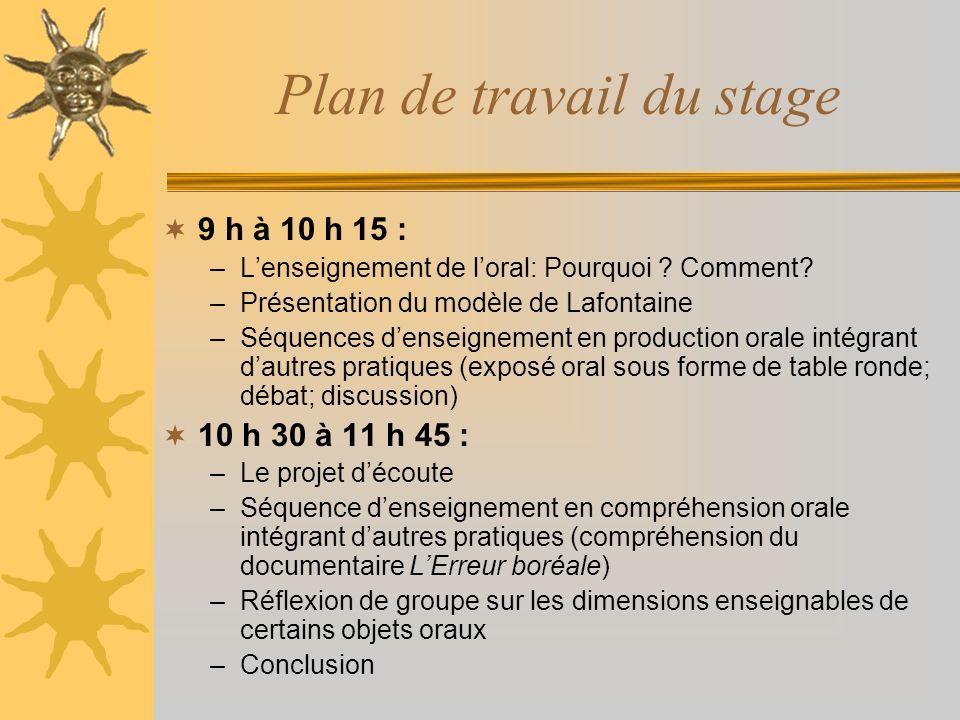 Plan de travail du stage 9 h à 10 h 15 : –Lenseignement de loral: Pourquoi ? Comment? –Présentation du modèle de Lafontaine –Séquences denseignement e