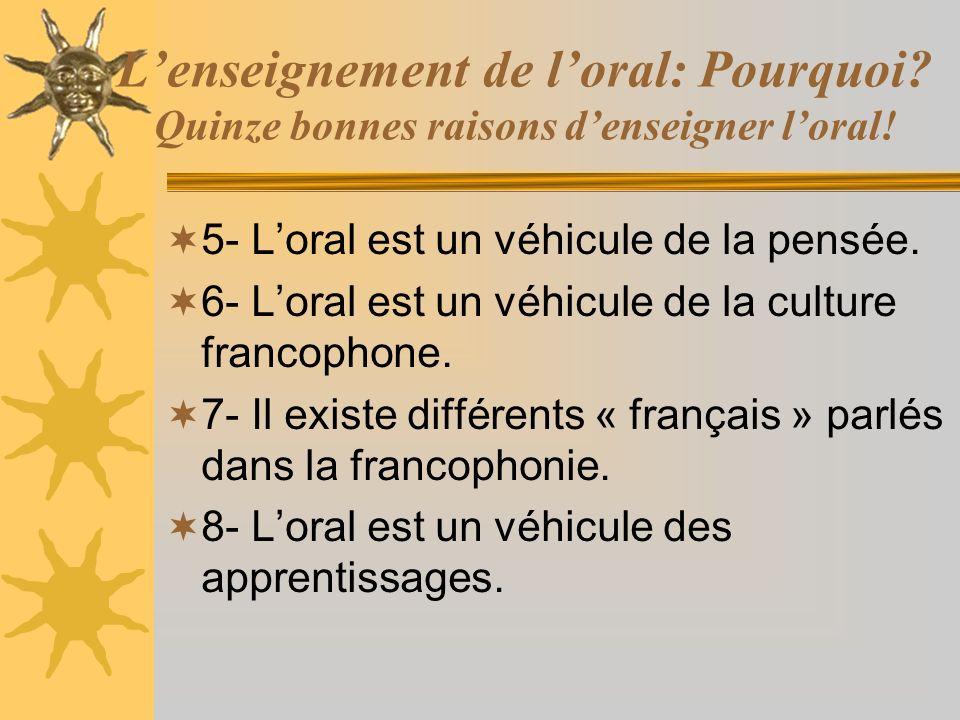 Lenseignement de loral: Pourquoi? Quinze bonnes raisons denseigner loral! 5- Loral est un véhicule de la pensée. 6- Loral est un véhicule de la cultur