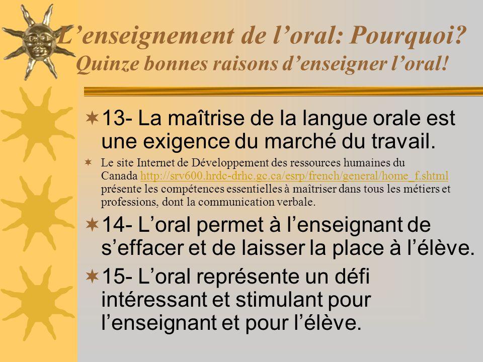 Lenseignement de loral: Pourquoi? Quinze bonnes raisons denseigner loral! 13- La maîtrise de la langue orale est une exigence du marché du travail. Le