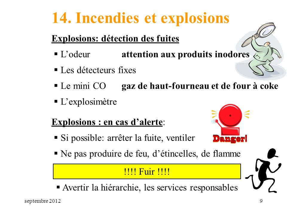 septembre 201210 a) un extincteur b) une bonbonne de gaz c) un danger dexplosion 14a Que signifie le panneau ci-dessous :
