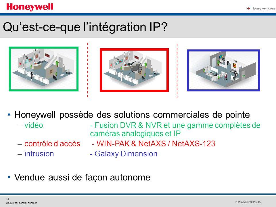 Honeywell Proprietary Honeywell.com 15 Document control number Quest-ce-que lintégration IP? Honeywell possède des solutions commerciales de pointe –v