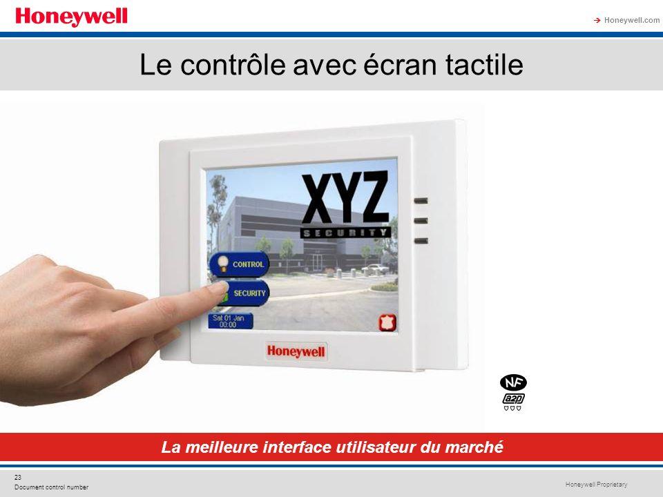 Honeywell Proprietary Honeywell.com 23 Document control number Le contrôle avec écran tactile La meilleure interface utilisateur du marché
