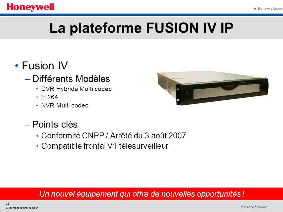 Honeywell Proprietary Honeywell.com 25 Document control number Fusion IV –Différents Modèles DVR Hybride Multi codec H.264 NVR Multi codec –Points clé
