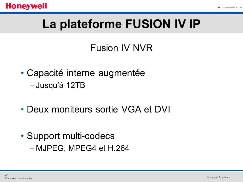 Honeywell Proprietary Honeywell.com 27 Document control number Fusion IV NVR Capacité interne augmentée –Jusquà 12TB Deux moniteurs sortie VGA et DVI