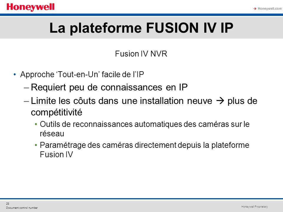 Honeywell Proprietary Honeywell.com 28 Document control number Fusion IV NVR Approche Tout-en-Un facile de lIP –Requiert peu de connaissances en IP –L