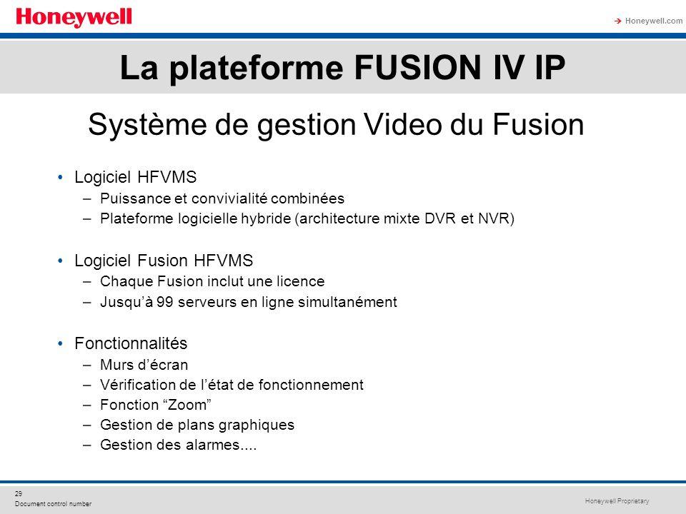 Honeywell Proprietary Honeywell.com 29 Document control number Système de gestion Video du Fusion Logiciel HFVMS –Puissance et convivialité combinées