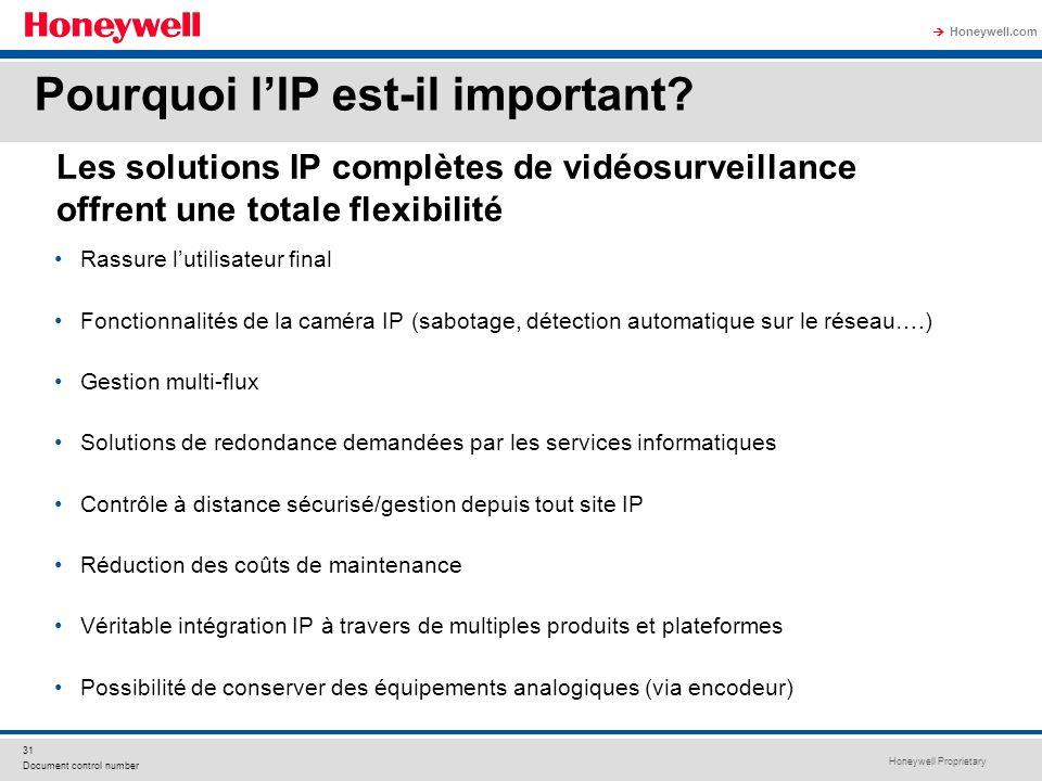 Honeywell Proprietary Honeywell.com 31 Document control number Les solutions IP complètes de vidéosurveillance offrent une totale flexibilité Rassure