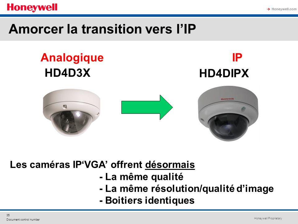Honeywell Proprietary Honeywell.com 35 Document control number Analogique IP HD4D3X HD4DIPX Les caméras IPVGA offrent désormais - La même qualité - La