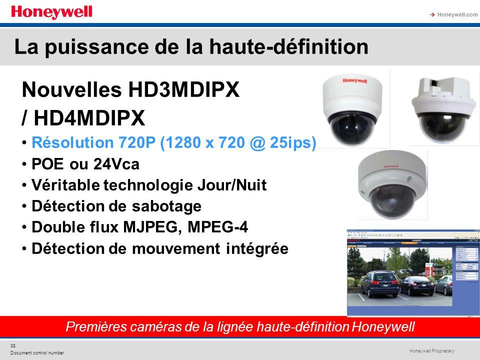 Honeywell Proprietary Honeywell.com 38 Document control number Nouvelles HD3MDIPX / HD4MDIPX Résolution 720P (1280 x 720 @ 25ips) POE ou 24Vca Véritab