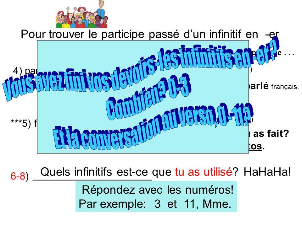 Pour trouver le participe passé dun infinitif en -er 4) parler français Linfinitif le participe passé un exemple avec... parlé (Ils) Ils ont parlé fra