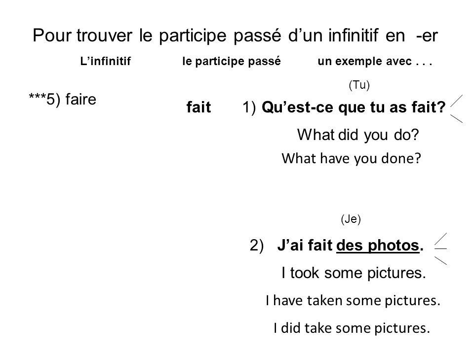 Pour trouver le participe passé dun infinitif en -er Linfinitif le participe passé un exemple avec... ***5) faire fait (Tu) Jai fait des photos. Quest
