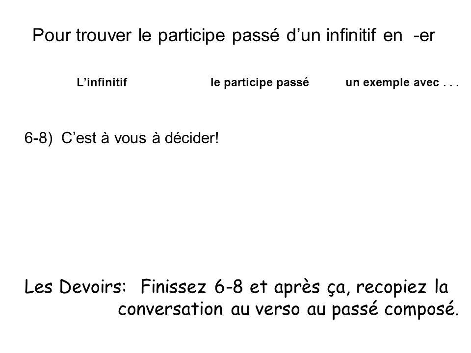 Pour trouver le participe passé dun infinitif en -er Linfinitif le participe passé un exemple avec... 6-8) Cest à vous à décider! Les Devoirs: Finisse