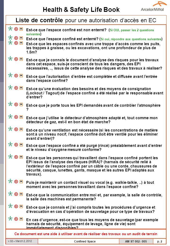 Health & Safety Life Book AM ST 002 - 005 p. 2 v.02 – March 2, 2012 Confined Space Liste de contrôle pour une autorisation daccès en EC Est-ce que les
