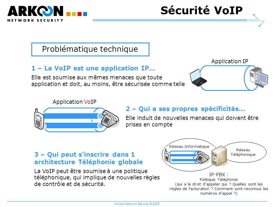 Arkoon Network Security © 2008 Application IP Application VoIP Réseau Téléphonique IP-PBX : Politique Téléphonie (qui a le droit dappeler qui ? Quelle