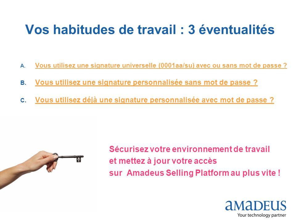 © 2009 Amadeus France Services Vos habitudes de travail : 3 éventualités A. Vous utilisez une signature universelle (0001aa/su) avec ou sans mot de pa