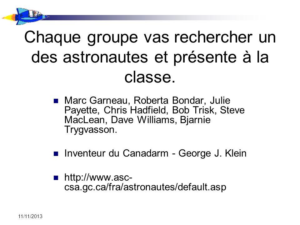 11/11/2013 Chaque groupe vas rechercher un des astronautes et présente à la classe. Marc Garneau, Roberta Bondar, Julie Payette, Chris Hadfield, Bob T