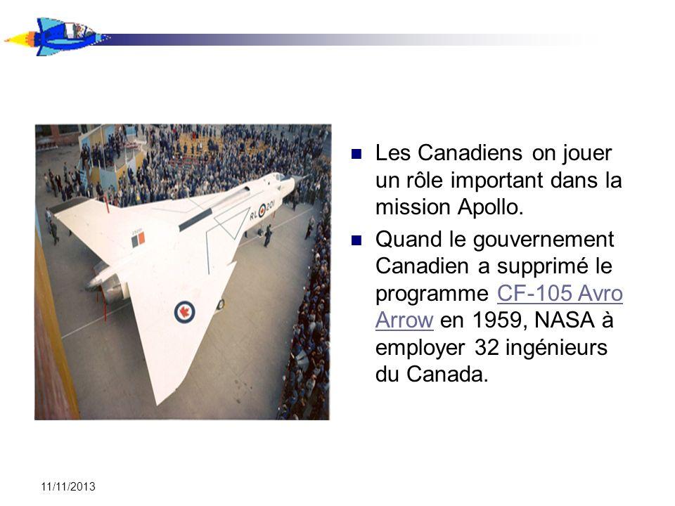 11/11/2013 Les Canadiens on jouer un rôle important dans la mission Apollo. Quand le gouvernement Canadien a supprimé le programme CF-105 Avro Arrow e