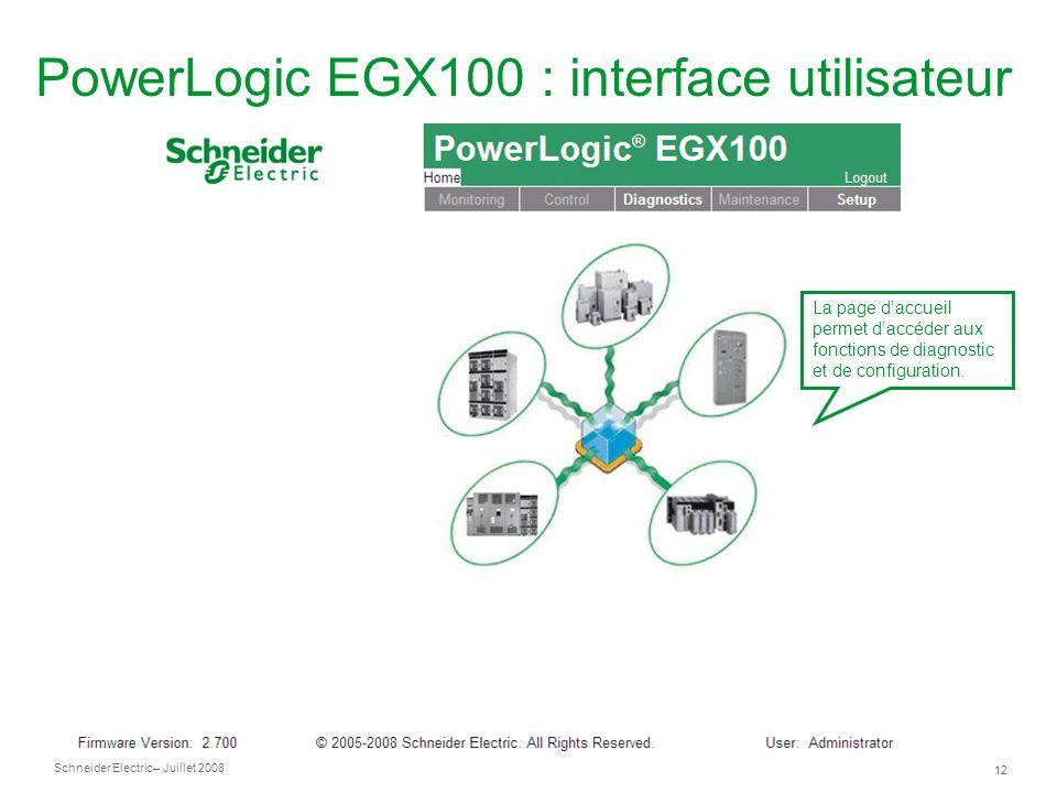 Schneider Electric 12 – Juillet 2008 PowerLogic EGX100 : interface utilisateur La page daccueil permet daccéder aux fonctions de diagnostic et de configuration.