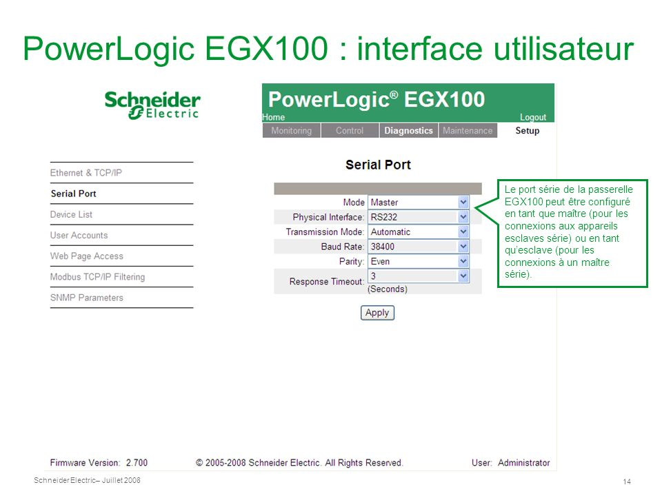 Schneider Electric 14 – Juillet 2008 PowerLogic EGX100 : interface utilisateur Le port série de la passerelle EGX100 peut être configuré en tant que m