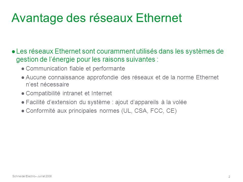 Schneider Electric 13 – Juillet 2008 PowerLogic EGX100 : interface utilisateur La page Ethernet & TCP/IP permet de configurer les connexions et les adresses Ethernet.