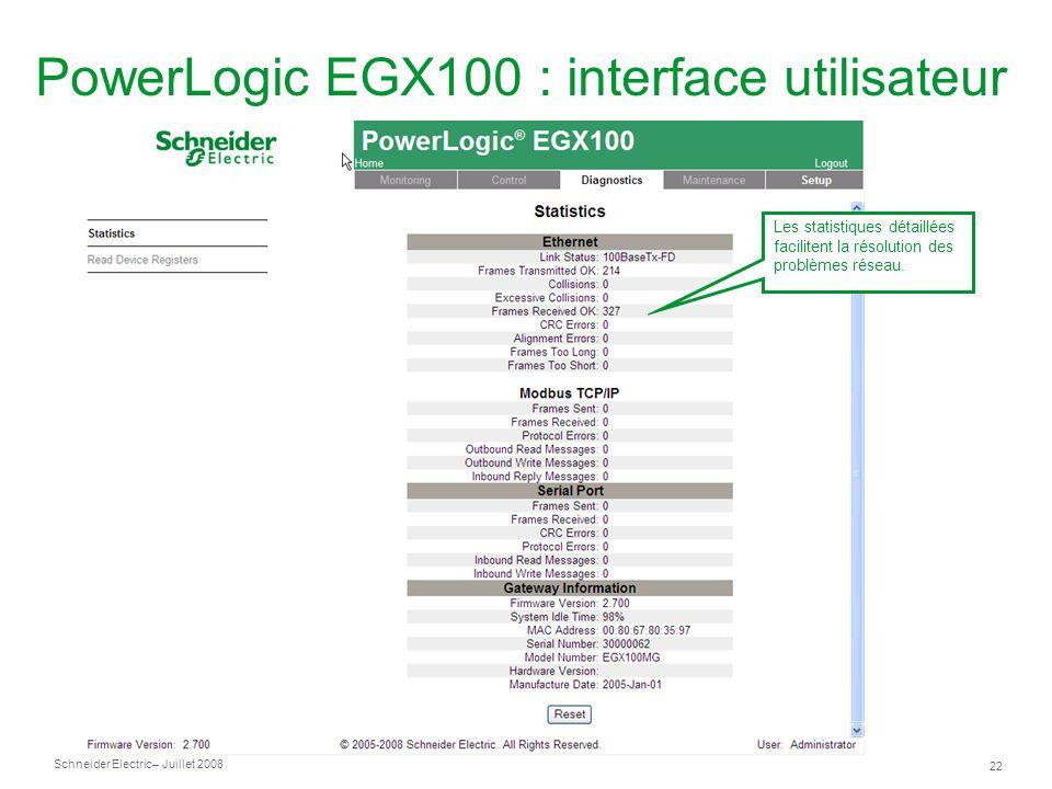 Schneider Electric 22 – Juillet 2008 PowerLogic EGX100 : interface utilisateur Les statistiques détaillées facilitent la résolution des problèmes réseau.