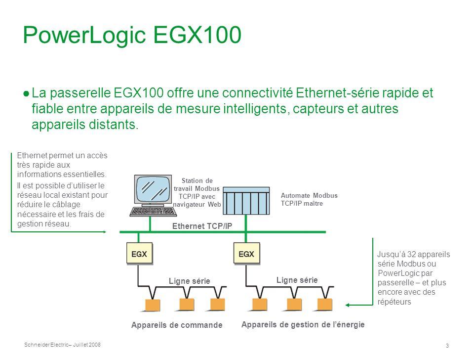Schneider Electric 3 – Juillet 2008 PowerLogic EGX100 La passerelle EGX100 offre une connectivité Ethernet-série rapide et fiable entre appareils de mesure intelligents, capteurs et autres appareils distants.