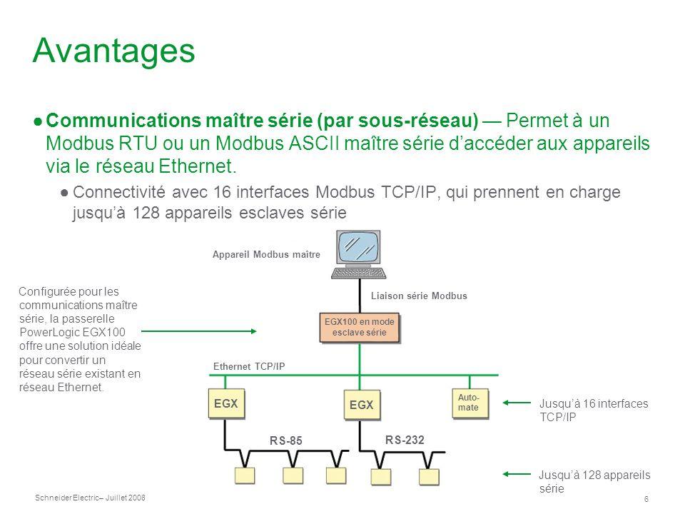 Schneider Electric 6 – Juillet 2008 Avantages Communications maître série (par sous-réseau) Permet à un Modbus RTU ou un Modbus ASCII maître série daccéder aux appareils via le réseau Ethernet.