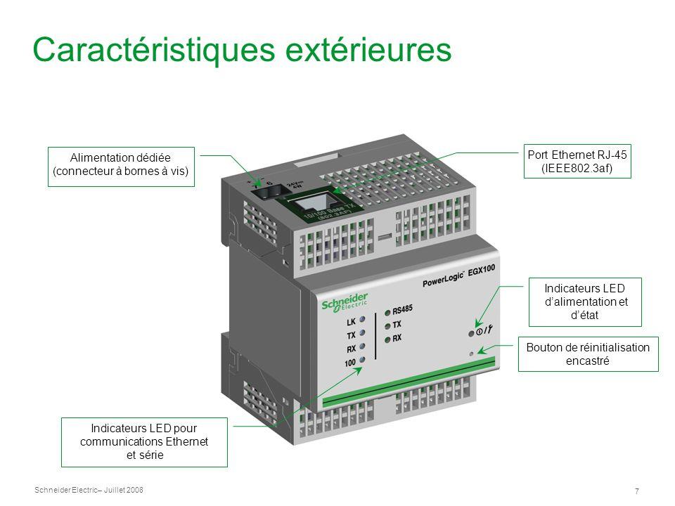 Schneider Electric 7 – Juillet 2008 Caractéristiques extérieures Port Ethernet RJ-45 (IEEE802.3af) Alimentation dédiée (connecteur à bornes à vis) Ind