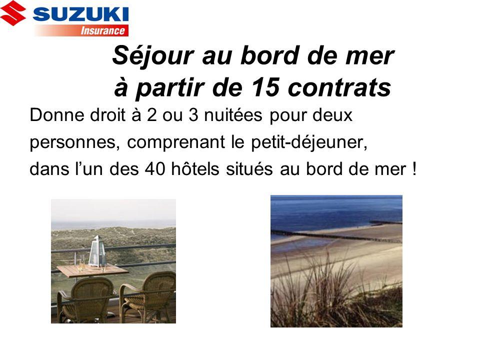 Séjour au bord de mer à partir de 15 contrats Donne droit à 2 ou 3 nuitées pour deux personnes, comprenant le petit-déjeuner, dans lun des 40 hôtels s