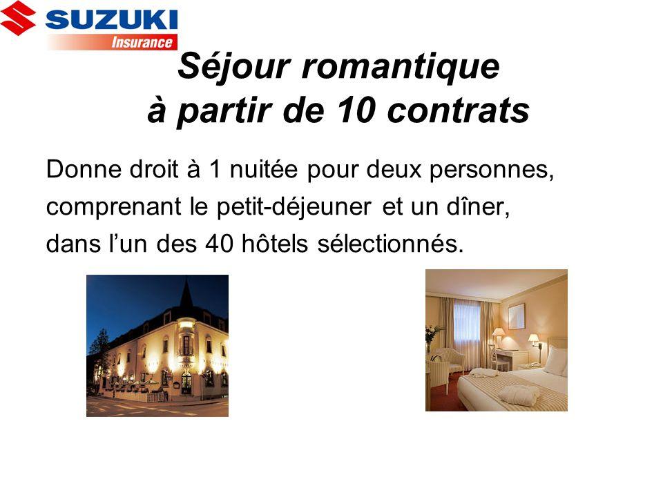 Séjour romantique à partir de 10 contrats Donne droit à 1 nuitée pour deux personnes, comprenant le petit-déjeuner et un dîner, dans lun des 40 hôtels