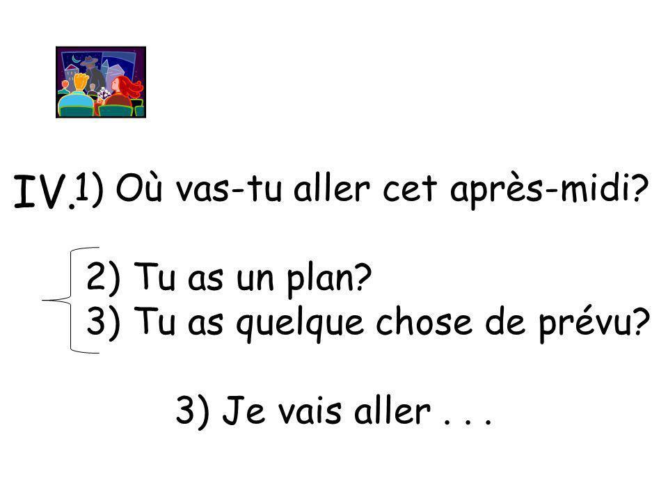1) Où vas-tu aller cet après-midi? 2) Tu as un plan? 3) Tu as quelque chose de prévu? 3) Je vais aller... IV.