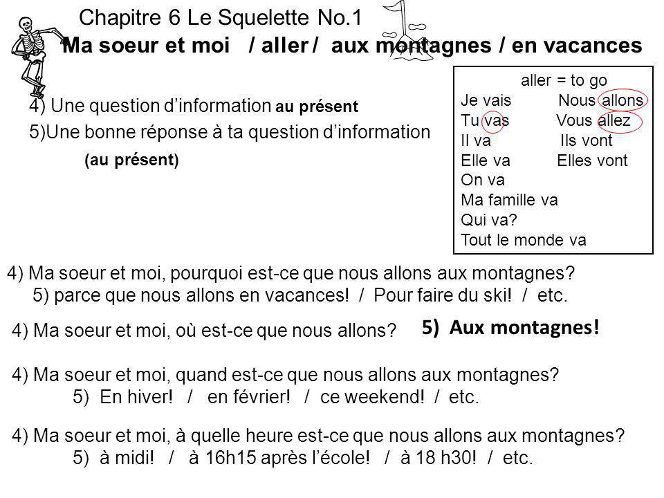 4) Une question dinformation au présent 5)Une bonne réponse à ta question dinformation (au présent) Chapitre 6 Le Squelette No.1 Ma soeur et moi / all