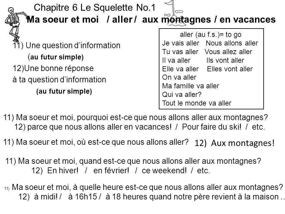 11) Une question dinformation ( au futur simple) 12)Une bonne réponse à ta question dinformation (au futur simple) Chapitre 6 Le Squelette No.1 Ma soe