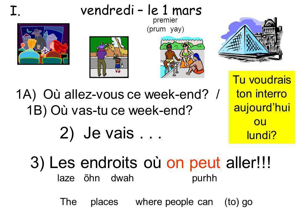 3) Les endroits où on peut aller!!! laze õhn dwah purhh The places where people can (to) go 1A) Où allez-vous ce week-end? / 1B) Où vas-tu ce week-end