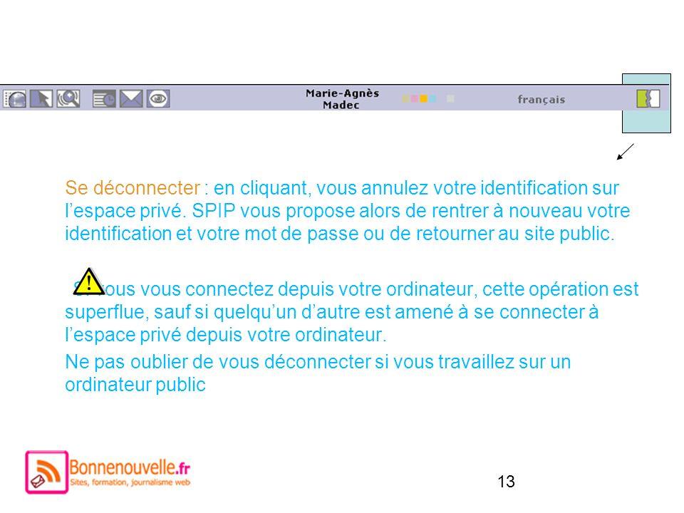 13 Se déconnecter : en cliquant, vous annulez votre identification sur lespace privé. SPIP vous propose alors de rentrer à nouveau votre identificatio