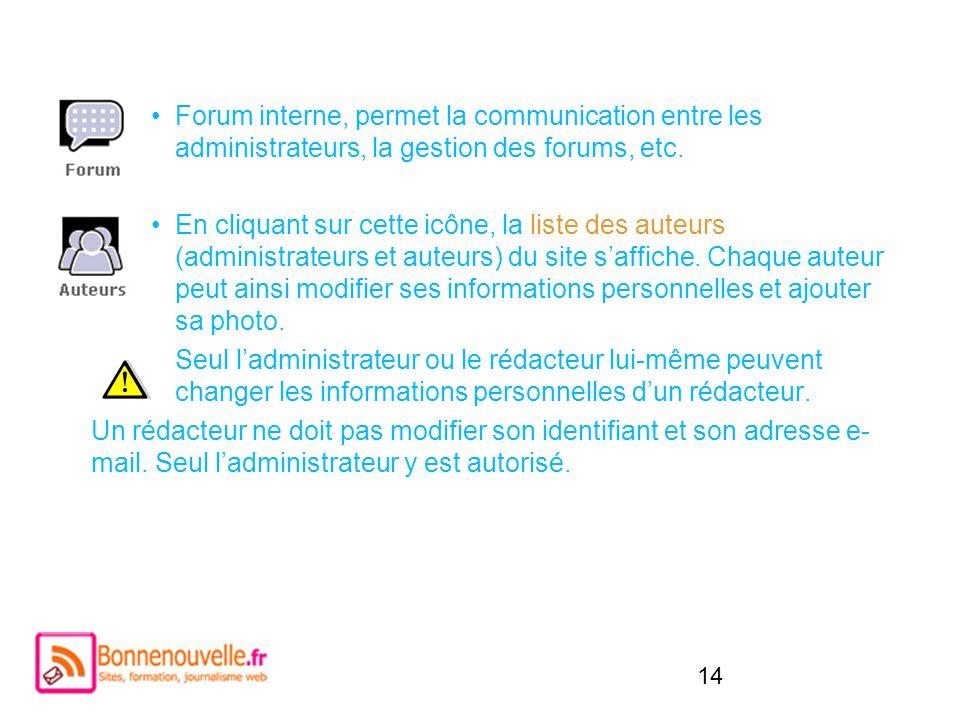 14 Forum interne, permet la communication entre les administrateurs, la gestion des forums, etc. En cliquant sur cette icône, la liste des auteurs (ad