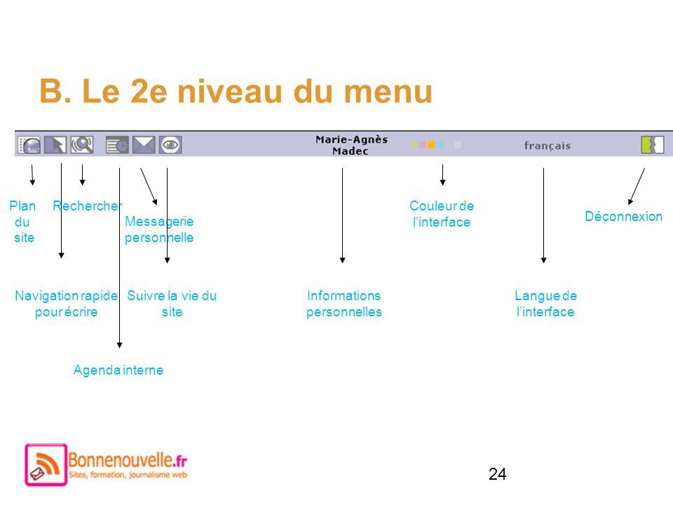 24 B. Le 2e niveau du menu Plan du site Navigation rapide pour écrire Rechercher Messagerie personnelle Couleur de linterface Agenda interne Informati