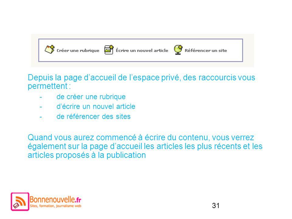 31 Depuis la page daccueil de lespace privé, des raccourcis vous permettent : -de créer une rubrique -décrire un nouvel article -de référencer des sit