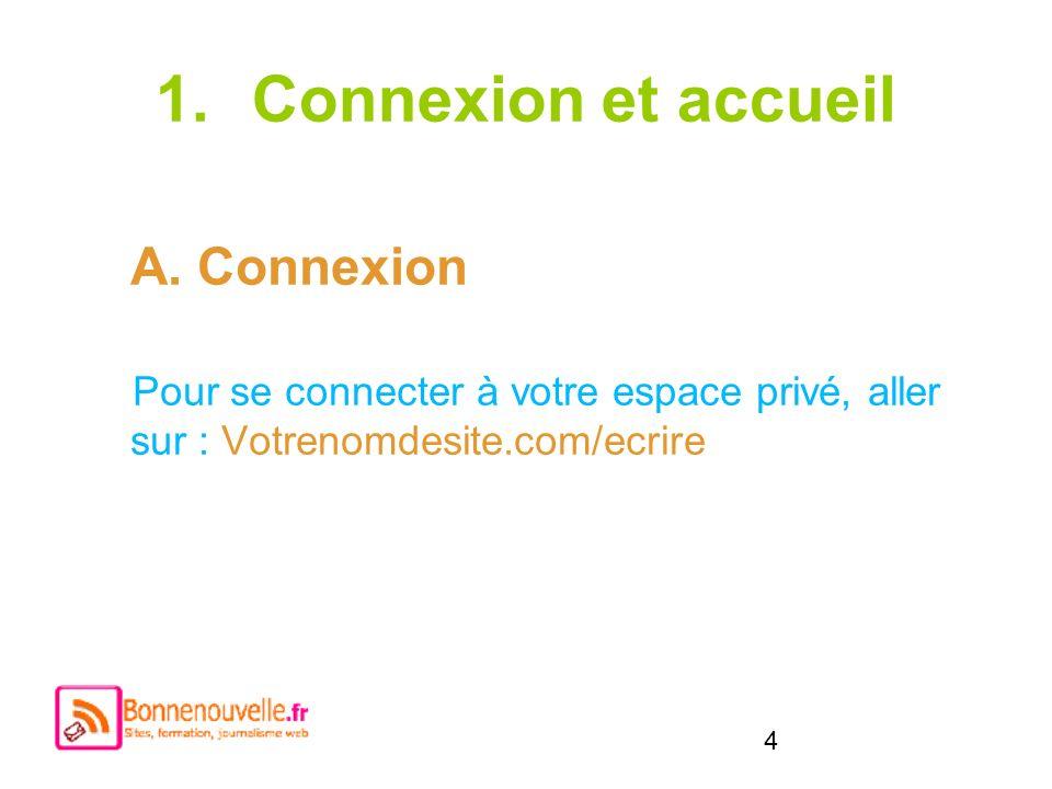 4 1.Connexion et accueil A. Connexion Pour se connecter à votre espace privé, aller sur : Votrenomdesite.com/ecrire