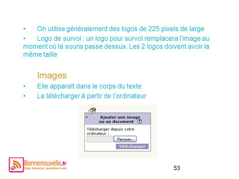 53 On utilise généralement des logos de 225 pixels de large Logo de survol : un logo pour survol remplacera limage au moment où la souris passe dessus