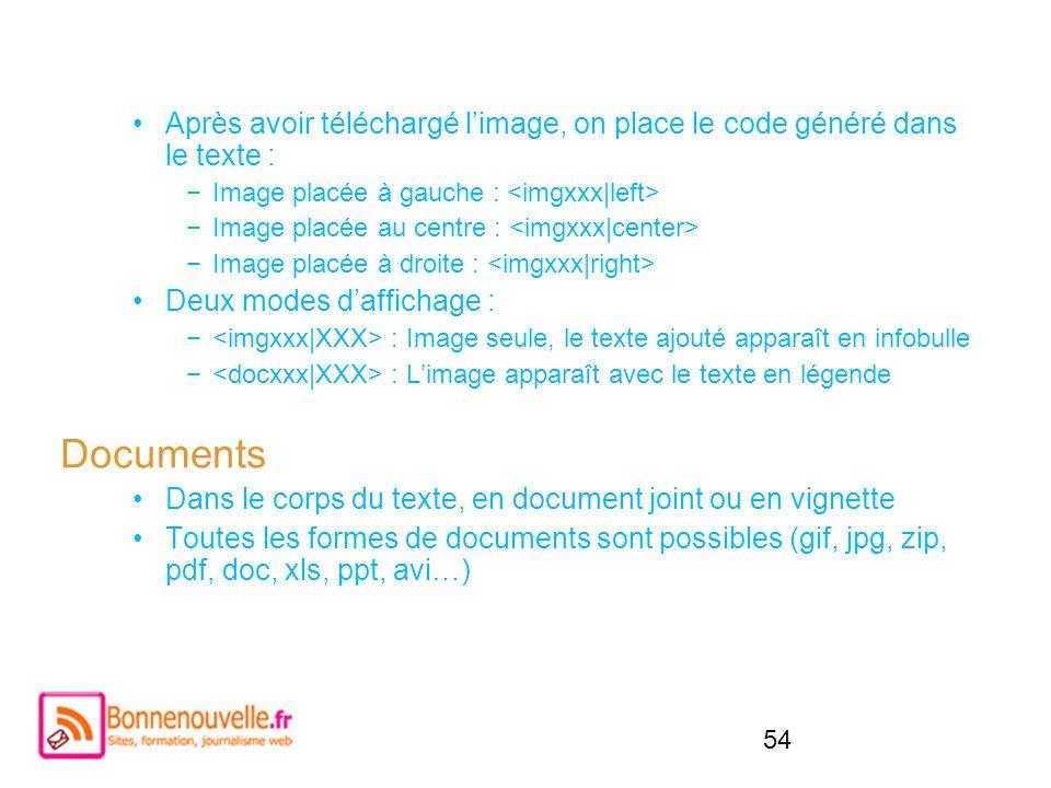 54 Après avoir téléchargé limage, on place le code généré dans le texte : Image placée à gauche : Image placée au centre : Image placée à droite : Deu