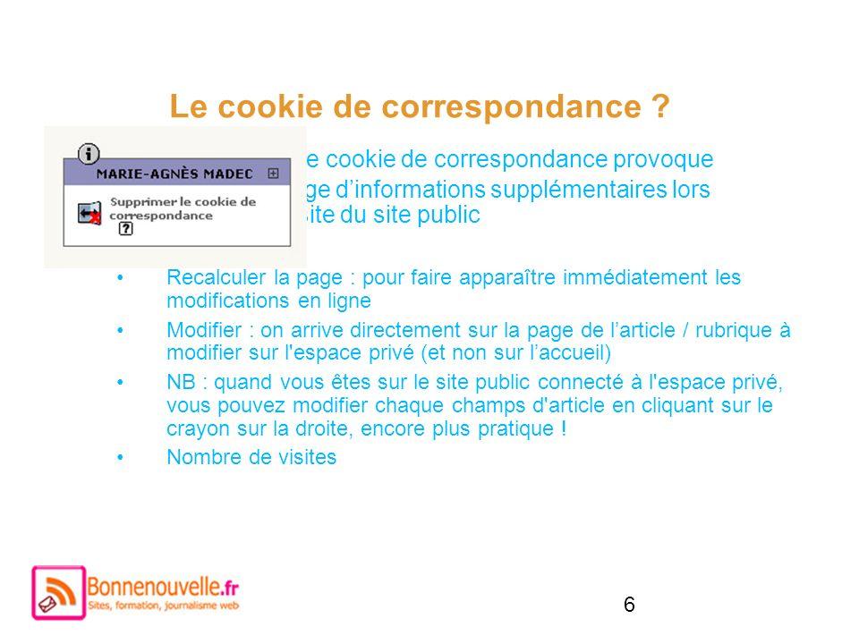 6 Le cookie de correspondance ? Activer le cookie de correspondance provoque laffichage dinformations supplémentaires lors de la visite du site public