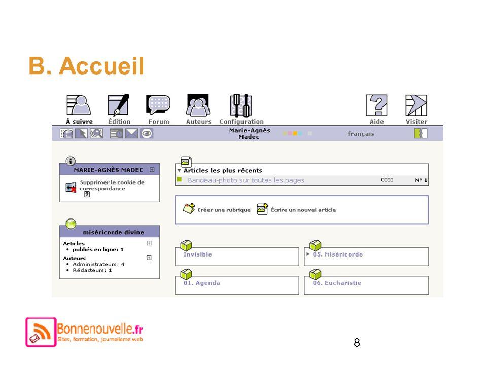 8 B. Accueil