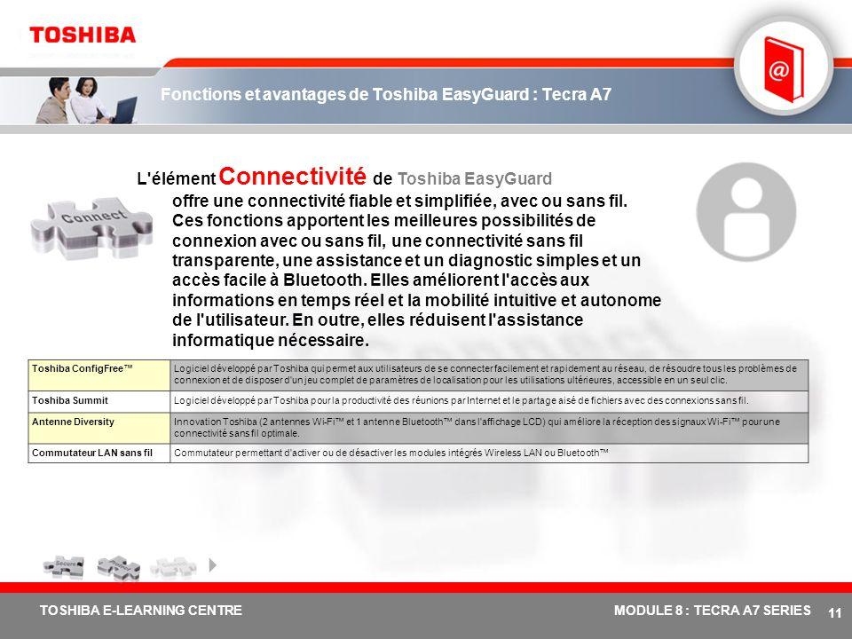 # 10 TOSHIBA E-LEARNING CENTREMODULE 8 : TECRA A7 SERIES Fonctions et avantages de Toshiba EasyGuard : Tecra A7 L'élément Protection et dépannage de T