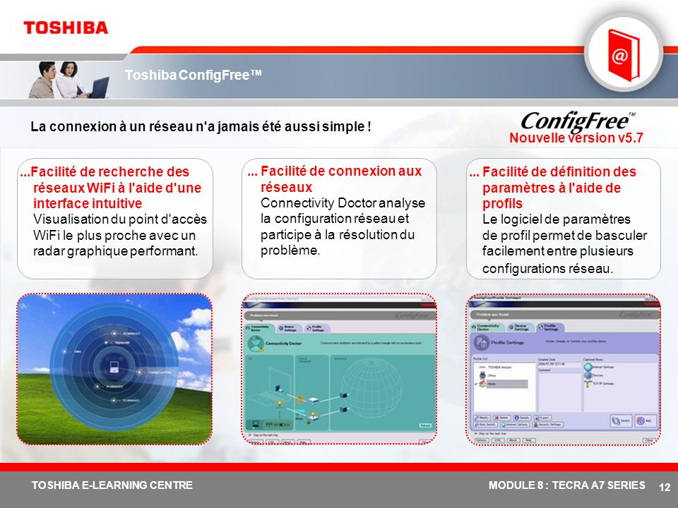 # 11 TOSHIBA E-LEARNING CENTREMODULE 8 : TECRA A7 SERIES Fonctions et avantages de Toshiba EasyGuard : Tecra A7 Toshiba ConfigFreeLogiciel développé p