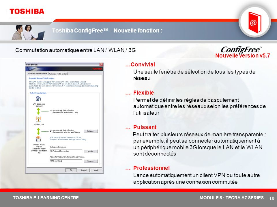 # 12 TOSHIBA E-LEARNING CENTREMODULE 8 : TECRA A7 SERIES Toshiba ConfigFree...Facilité de recherche des réseaux WiFi à l'aide d'une interface intuitiv
