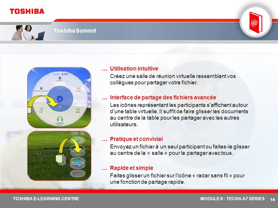 # 13 TOSHIBA E-LEARNING CENTREMODULE 8 : TECRA A7 SERIES Toshiba ConfigFree – Nouvelle fonction : Nouvelle version v5.7 …Convivial Une seule fenêtre d