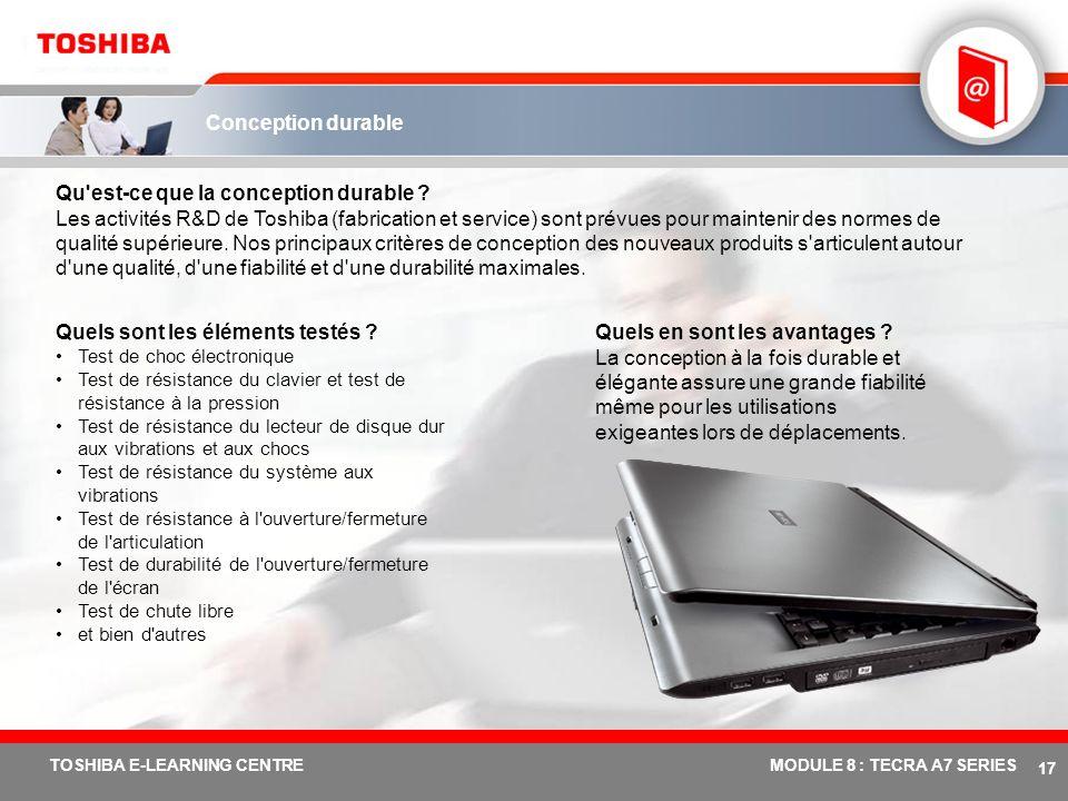# 16 TOSHIBA E-LEARNING CENTREMODULE 8 : TECRA A7 SERIES Protection du lecteur de disque dur (3 axes) Carte principale Toshiba avec capteur accéléromè