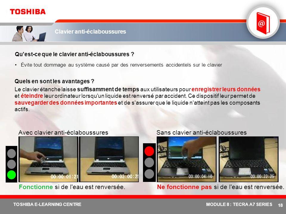 # 17 TOSHIBA E-LEARNING CENTREMODULE 8 : TECRA A7 SERIES Conception durable Qu'est-ce que la conception durable ? Les activités R&D de Toshiba (fabric