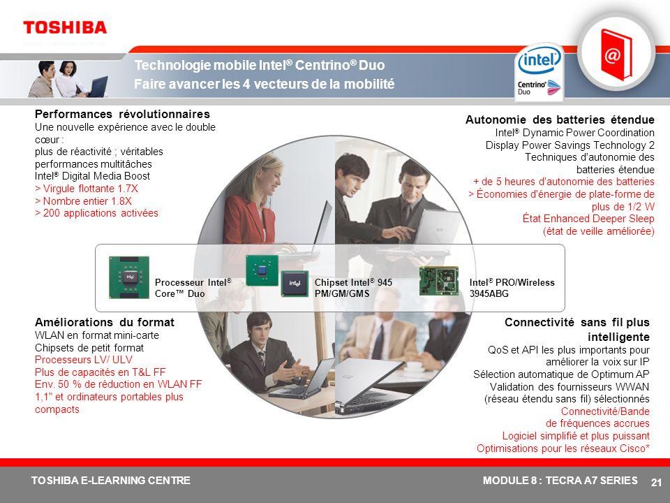 # 20 TOSHIBA E-LEARNING CENTREMODULE 8 : TECRA A7 SERIES La meilleure puissance professionnelle pour une évolution réussie + Pour obtenir l'avantage c